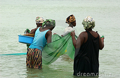 Women  fishing in mosambique Editorial Stock Image