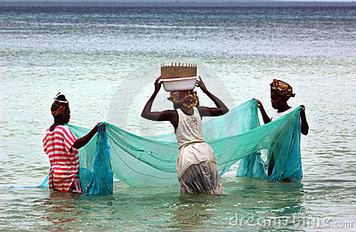 Women  fishing in mosambique Editorial Photography