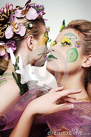 Women in flowers.