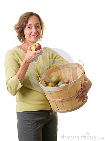 Women with fresh picked apples