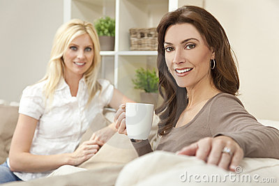 Women Friends Drinking Tea or Coffee at Home
