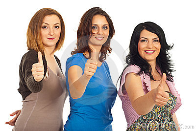 Women friends giving thumbs up