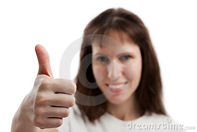 Women gesturing thumb up
