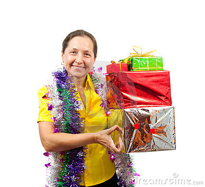 Women with gifts over white