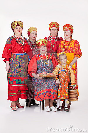 women and girl in russian traditional clothing stock image