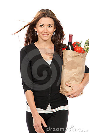 Women with grocery shopping bag