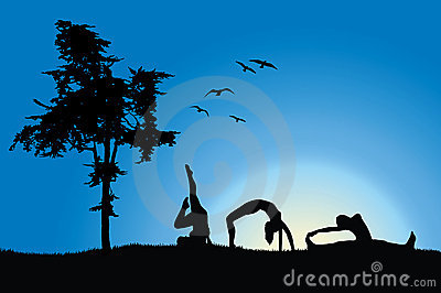 Women in gymnastics positions on hill near tree