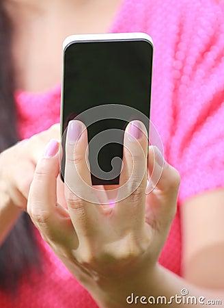 Women Hand using smartphone