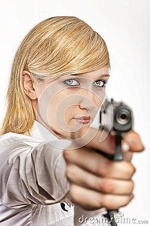 Women with handgun