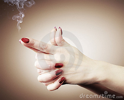 Women hands or gun with smoke, concept