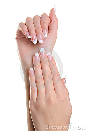 Free Women Hands With France Manicure Royalty Free Stock Image - 13110506