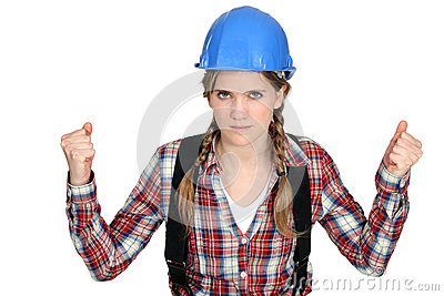 Women with helmet