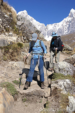 Women Hikers Descending Steep Trail Stock Photos - Image: 18794663