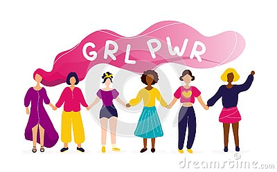 Women holding hands with girl power concept Vector Illustration