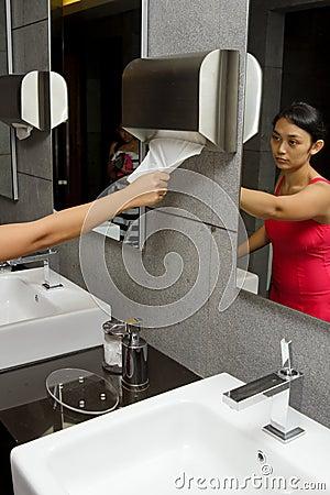 Women in hotel restroom