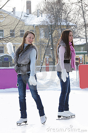 Women at ice rink