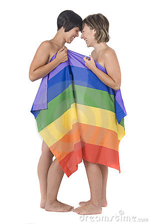 Free Women In Love With Lesbian Rainbow Flag Royalty Free Stock Photography - 10388877