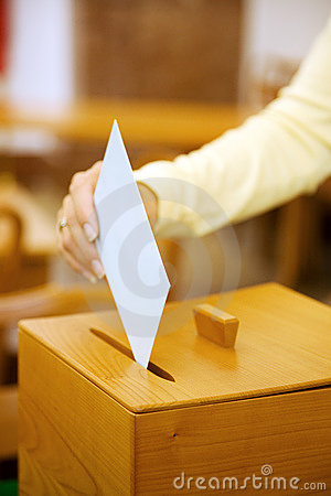 Free Women In The Election With Ballots And Ballot Box Royalty Free Stock Image - 19833786