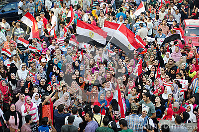 Women in Islamic dress protest against President Morsi Editorial Stock Image