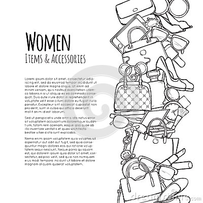 Free Women Items And Accessories Web Banner. Colourless Stock Photos - 87519273