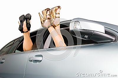Women legs into window