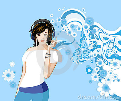 Women is listening to music.