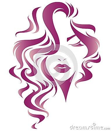 Women long hair style icon, logo women face Vector Illustration