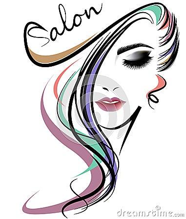 Free Women Long Hair Style Icon, Logo Women Face On White Background Stock Image - 78118481