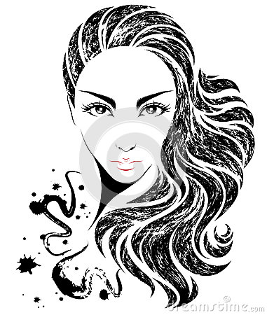 Women long hair style icon, logo women on white background Vector Illustration