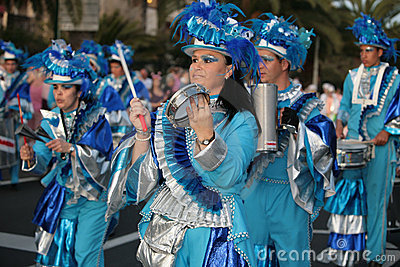Women and man in costumes at the Carnival Parade Editorial Photography
