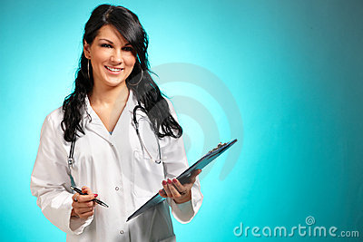 Women medicine doctor with pen and notepad