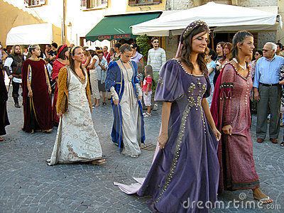 Women in medieval times costumes Editorial Stock Image
