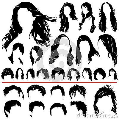 Women and men hair vector