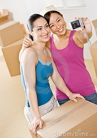 Women moving into new home