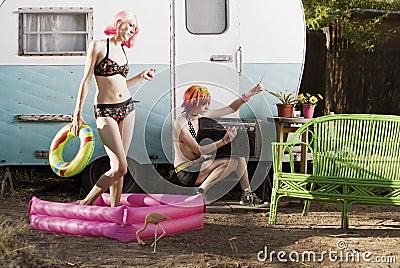 Women outside a trailer