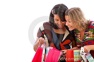 Women peeking at the bags