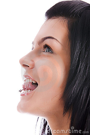 Women with pierced tongue