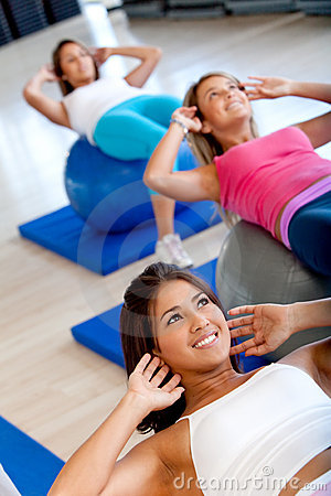 Women at a pilates class