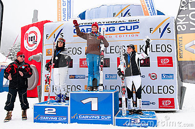 Women Podium of Carving World challenge 2011 Editorial Photo