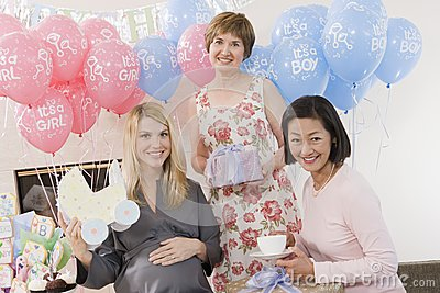 Women With Presents At A Baby Shower
