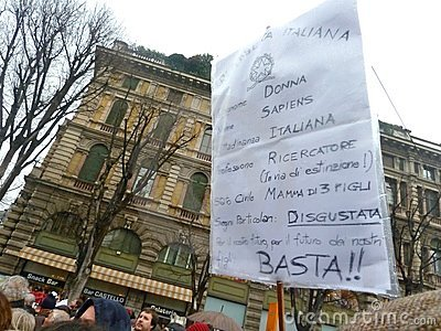 Women rallies to protest against Berlusconi Editorial Stock Image