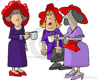 Women in red hats drinking tea