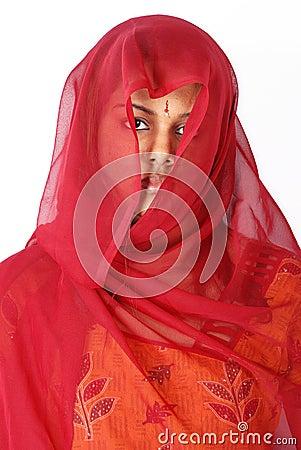 Women in red veil