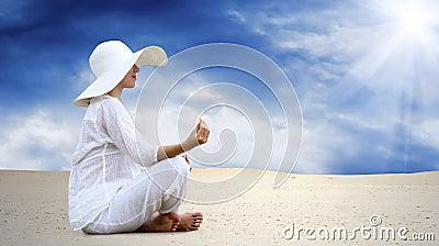 Women relaxation at sunny desert