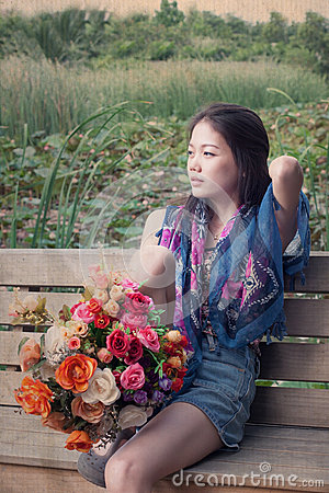Women relaxing emotion and bouquet flowers in hand