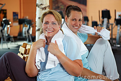 Women relaxing after fitness