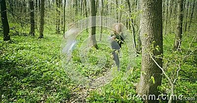 Women running in forest.