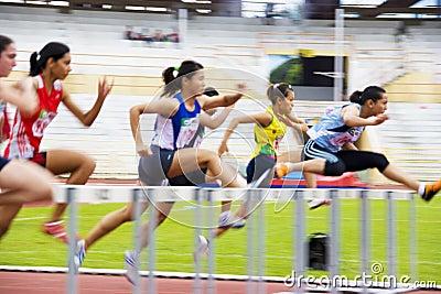 Women s 100 Meters Hurdles Action (Blurred) Editorial Image