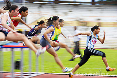 Women s 100 Meters Hurdles Action (Blurred) Editorial Photography
