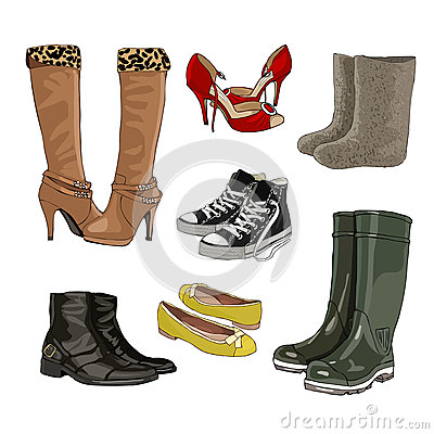 Free Women S And Men S Shoes. Warm And Rubber Boots. Light Shoes. Sports Shoes. Vector. Royalty Free Stock Photography - 76248227